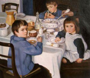 картина За обедом художника Серебряковой