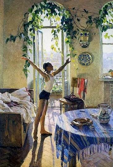 общее настроение картины утро яблонской