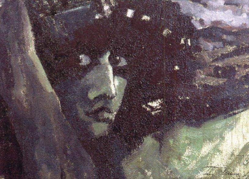 Картина Голова Демона на фоне гор Врубеля