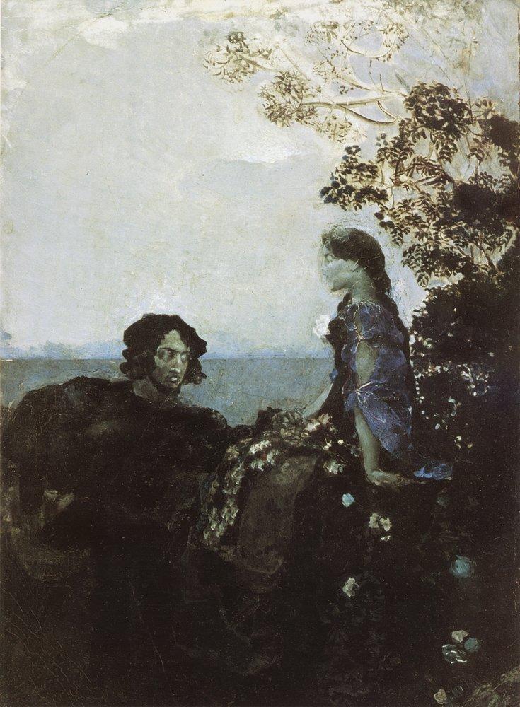Картина Гамлет и Офелия Врубеля