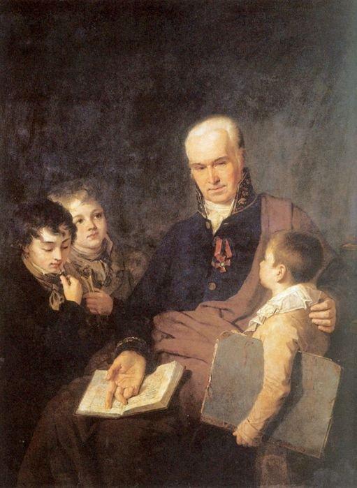 Портрет К.И.Головачевского, инспектора Академии художеств, с тремя учениками Венецианова