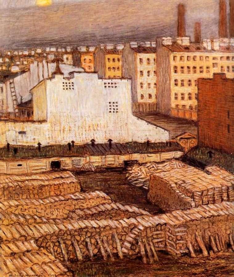 Картина Город Добужинского