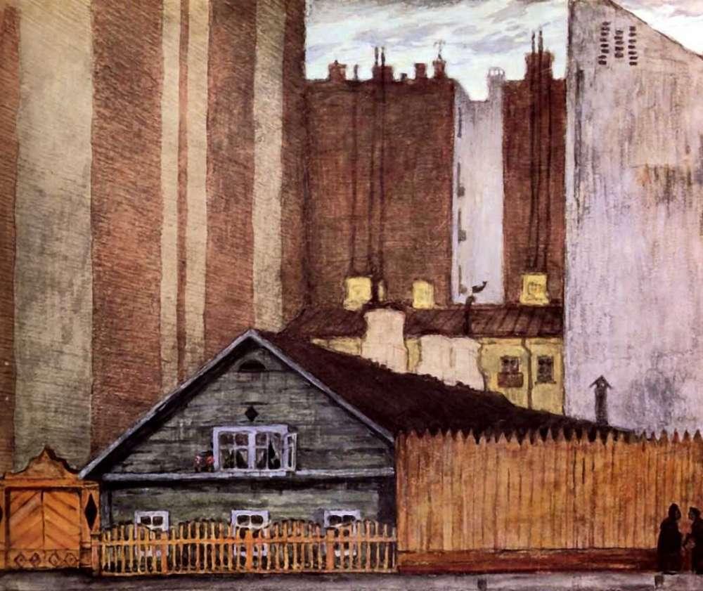 Картина Домик в Санкт-Петербурге Добужинского