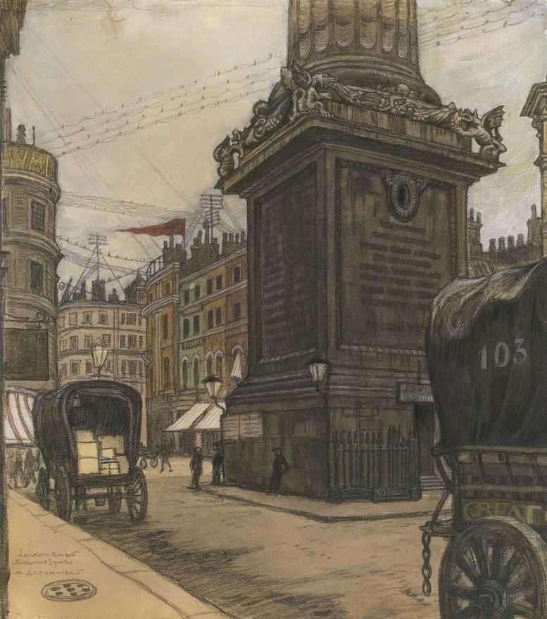 Картина Лондон. Монумент Добужинского