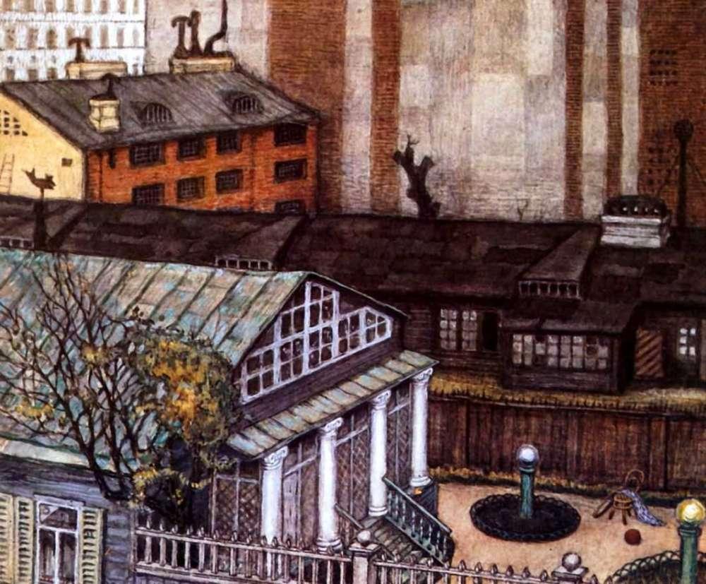 Картина Садик в городе Добужинского