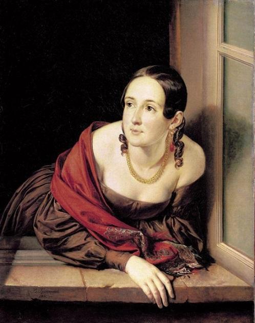 Портрет Женщина в окне (Казначейша) Тропинина