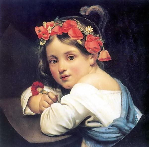 Портрет Девочка в маковом венке с гвоздикой в руке (Мариучча) Кипренского