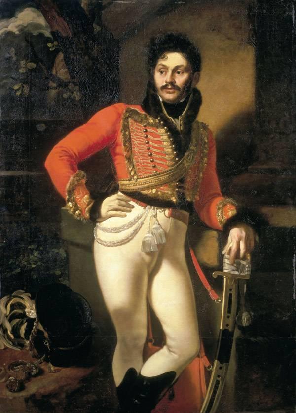Портрет Давыдова Ев. В., лейб-гусарского полковника Кипренского