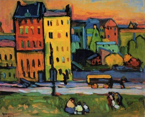 Картина Дома в Мюнхене Кандинский