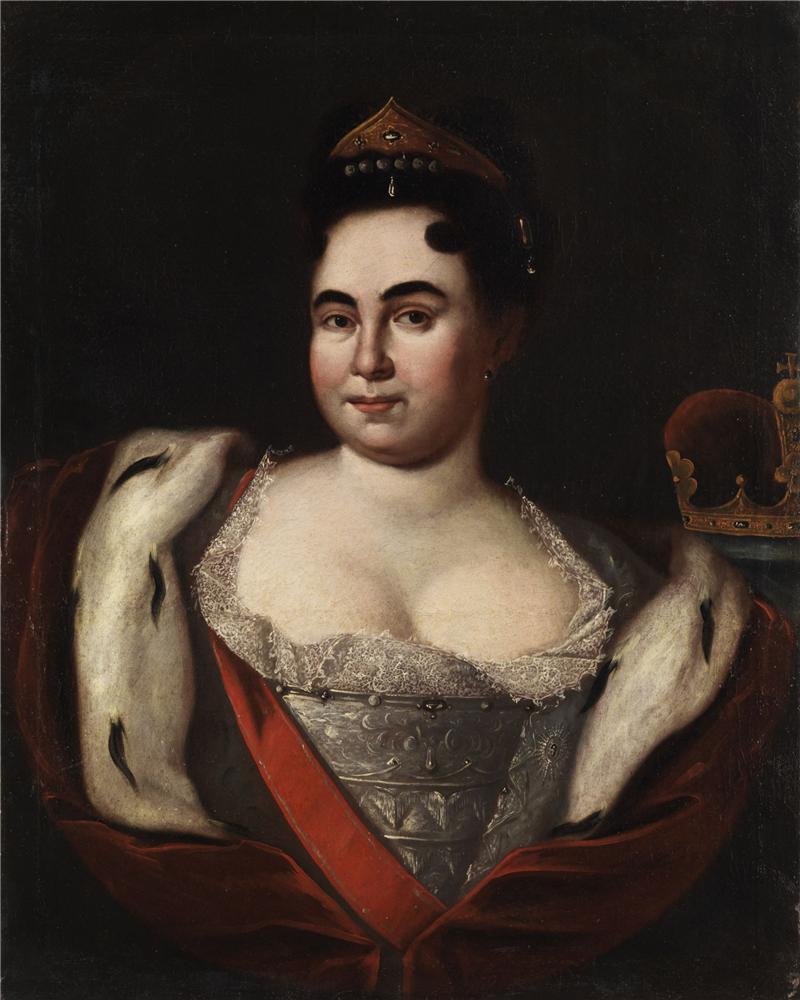 Портрет Екатерины I с арапчонком неизвестного художника фото