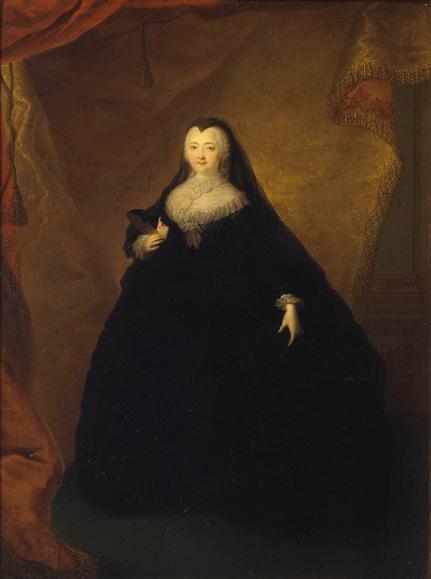 Портрет императрицы Елизаветы Петровны в черном маскарадном домино с маской в руке Георга Христофа (Кристофа) Гроота 1748 года фото