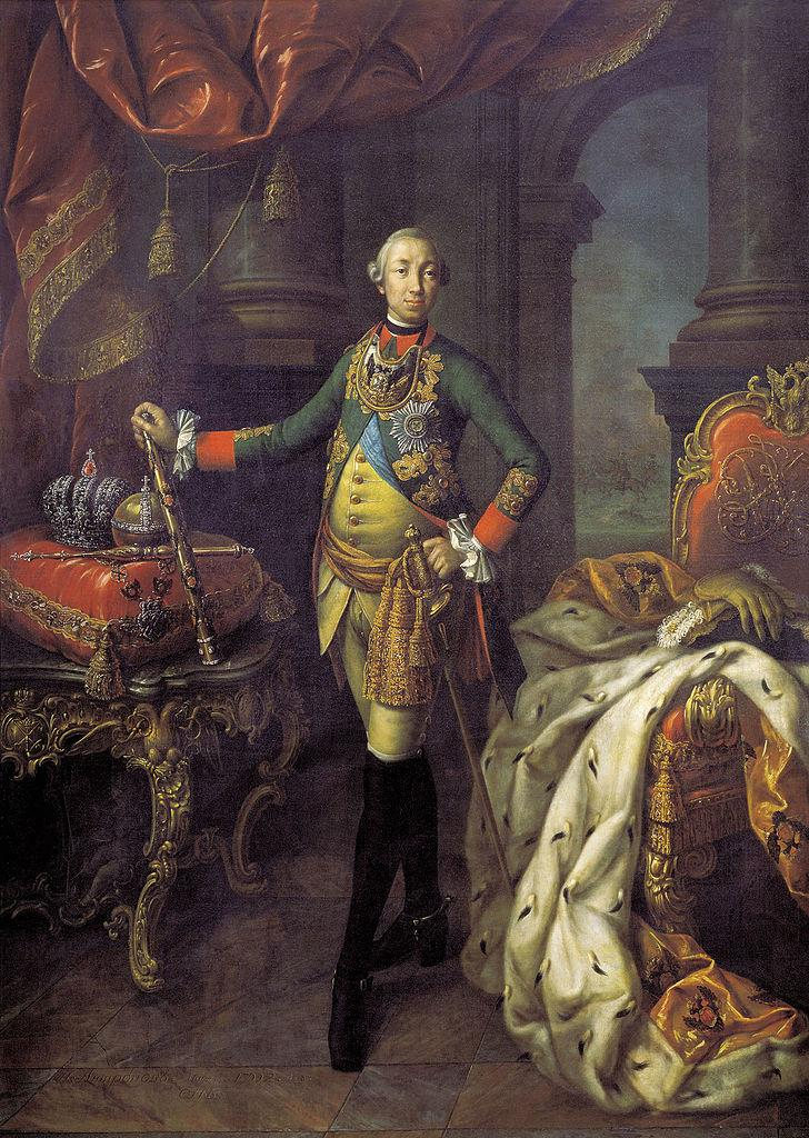 Портрет Петра III в мундире лейб-гвардии Преображенского полка неизвестного художника 1762 года фото