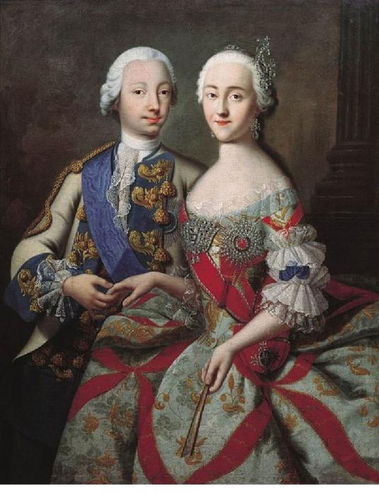 Цесаревич Петр Федорович и великая княгиня Екатерина Алексеевна. 1740-е годы Г.-К. Гроота фото