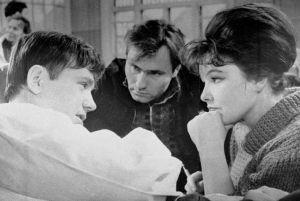 Фото Беллы Ахмадулиной с Леонидом Куравлевым и Василием Шукшиным в картине Шукшина «Живет такой парень», 1964 год