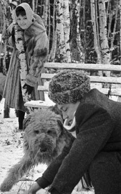 Фото Беллы Ахмадулиной с Юрием Нагибиным в писательском поселке Красная Пахра 1965 год