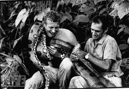 Фото Евгения Евтушенко с пойманой анакондой на Амазонке