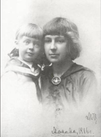 Фото Марины Цветаевой с дочерью Ариадной 1916 год