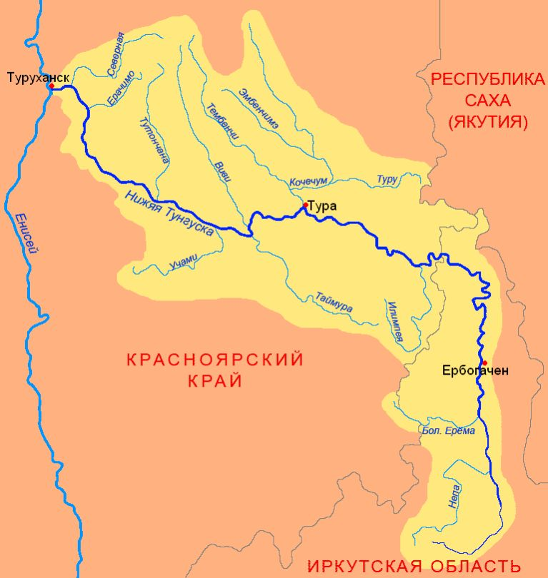 Река Нижняя Тунгуска на карте
