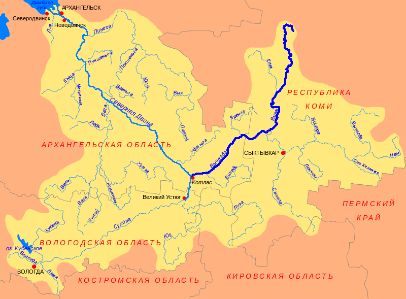 Река Вычегда на карте
