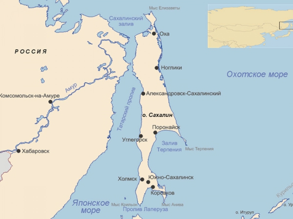 Татарский пролив на карте