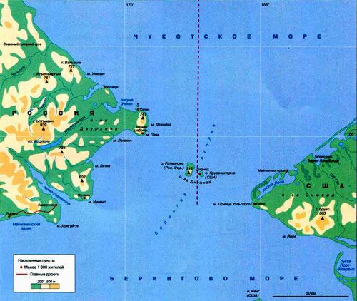 Берингов пролив на карте