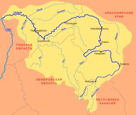 река Чулым на карте