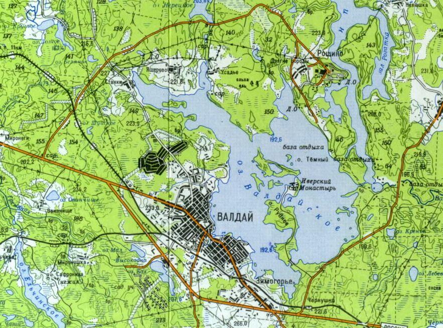 Валдайское озеро на карте