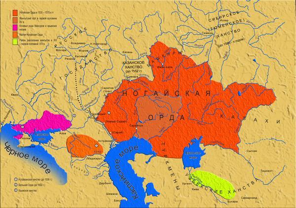 Ногайская орда на карте