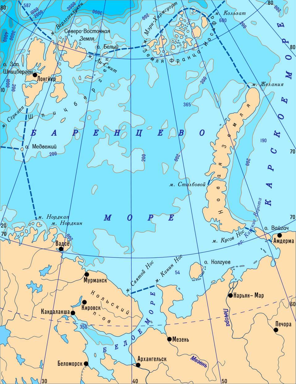 Баренцево море на карте